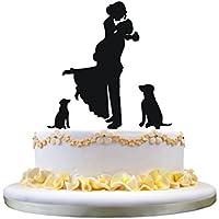 Silueta de la novia y del novio del topper de la torta de boda con 2 perros