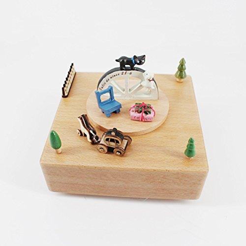 Su @ Da Szene Happy Time Katze micro-landscape Musik Box Holz Creative Geburtstag Hochzeit Geschenk 14* 14* 16cm Music Box-bewegungen Handwerk