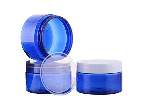 2pcs 100G (3.5oz) 100ml azul máscara tarro Bottes crema cosméticos Make Up vacío recipiente con blanco–casquillo de cubierta superior y interior para emulsión Loción de mano y más