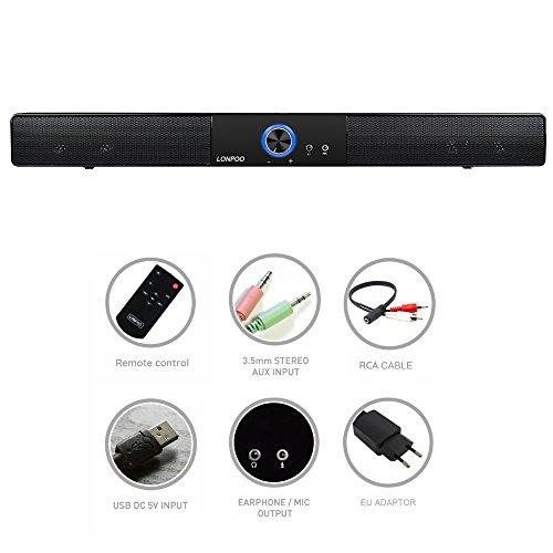 PC Soundbar, LONPOO 10W USB Tragbarer Bluetooth 4.0 Lautsprecher Mini Computer Soundbar Wireless Wired Speaker USB Sound Box für PC Notebook Laptop Smartphone mit 3.5mm AUX - Sound Bar Pc-lautsprecher