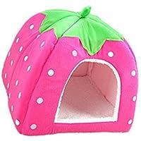 Encantador Fresa Suave Cachemira Calentar Mascota Nido Perro Gato Cama Plegable Rosa