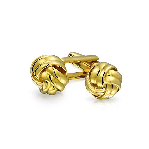 Bling Jewelry Sterling Silver Classic Rope Woven Love Knot Cufflinks Gold Plated