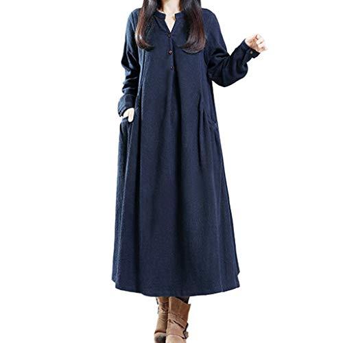 mounter- Damen Übergröße Pullover Kleid Lange Bluse Tops Damen Langarm Leinen Knopf lose Vintage Knopf Bohemian Lange Hemd Tunika Kleider mit Taschen, Navy - Größe: 5X-Large (Neck Top Drape Ärmel Lange)