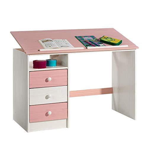 Kinderschreibtisch Schülerschreibtisch KEVIN, weiß/rosa, neigungsverstellbar