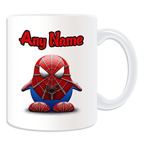 Personalisiertes Geschenk – Peter Benjamin Parker Tasse (Pinguin Film Charakter Design Thema, weiß) – Jeder Name/Nachricht auf Ihre Einzigartiges – Kostüm Film Superheld Hero Marvel Comics Avengers Spider Man (Marvel Heroes Beste Spiderman Kostüm)