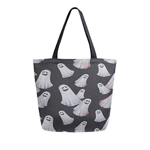 Reopx Happy Halloween Geist Geist Tragbare Große Doppelseitige Lässige Canvas Tragetaschen Handtasche Schulter Wiederverwendbare Einkaufstaschen Duffel Geldbörse Frauen Männer ()