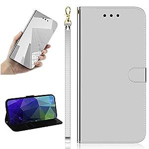 Miagon Spiegel Effekt Brieftasche Hülle für Huawei Y6 2019,Schlank PU Leder Flip Make-Up Schutzhülle Standing Wallet Case Cover,Silber