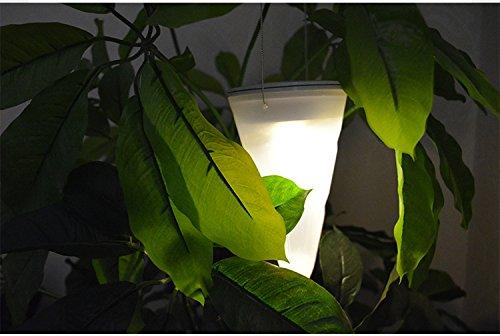 Cone Forme LED Lanterne solaire (plastique) de décoration balcon de jardin Hanging Arbre Cornet Cône lampe LED Lanternes 10 * 10 * 17cm (blanc chaud)