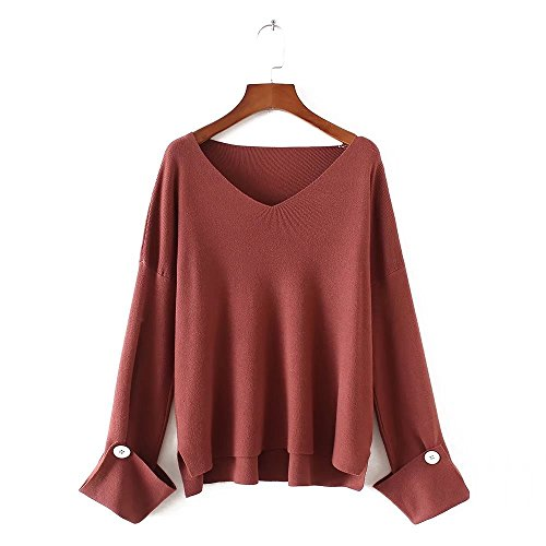 HUA&X Col en V femmes Regroupement cavaliers occasionnels Haut Pull Sweater sweat-shirts Brick Red