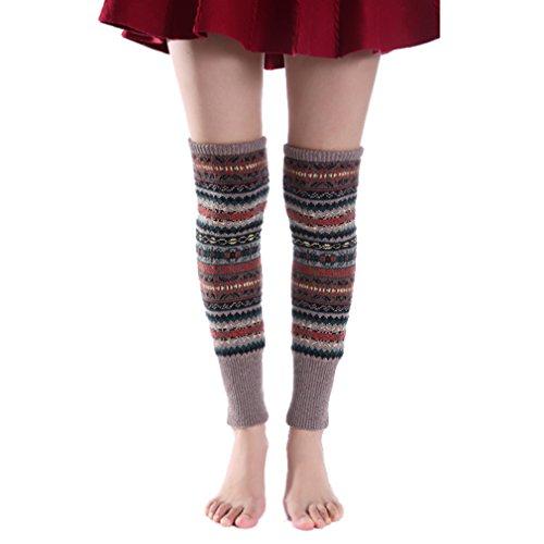 Booties Mode (HITOP Mode Herbst und Winter Böhmen Verdicken Wollen Stricken Stulpen Damen-Stulpen Für Stiefelette/Booties(Braun))