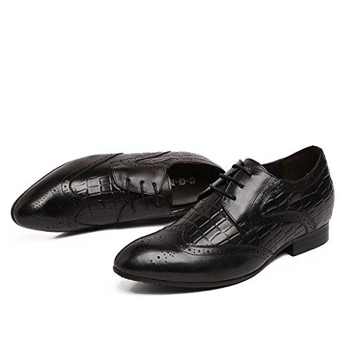 GRRONG Chaussures En Cuir Pour Hommes Avec Dentelle Loisirs Respirant Tenue Black