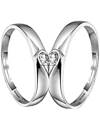 Om Jewells Cz Jewellery Rhodium Plated Adjustable Solitaire Couple Ring for Men and Women CO1000208