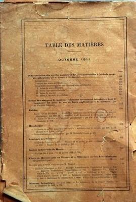 MONITEUR SCIENTIFIQUE DU DOCTEUR QUESNEVILLE N? 838 du 01-10-1911 DIFFERENCIATION DES TEXTILLES NATURELS ET DES SOIES ARTIFICIELLES A L'AIDE DU ROUGE DE RUTHENIUM PAR FRANCIS J.G. BELTZER - REVUE DES MARQUES DE MATIERES COLORANTES RECEMMENT INTRODUITES DANS LE COMMERCE AU POINT DE VUE DE LEURS APPLICATIONS A LA TEINTURE PAR F. REVERDIN - AMIDON - METALLURGIE - LES BREVETS - THABIUS - MERCURE SCIENTIFIQUE par Collectif