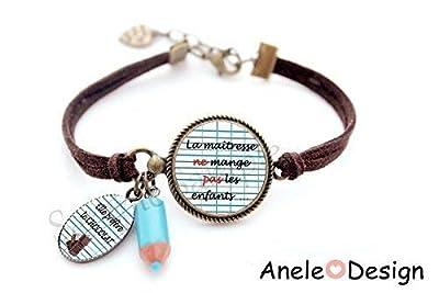 Bracelet Cadeau pour la maitresse - La maîtresse ne mange pas les enfants. Elle préfère le CHOCOLAT! cabochon crayon bleu