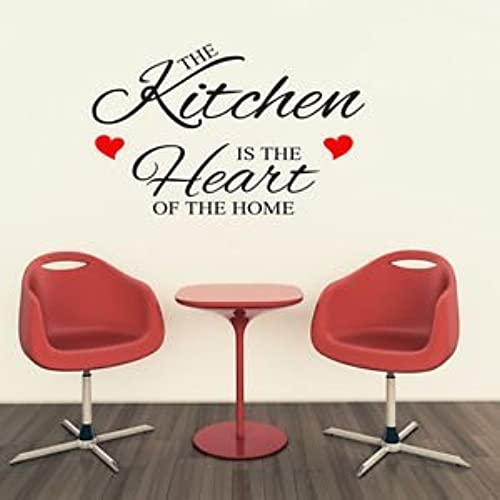 1Stop Graphics   Shop The Kitchen Is The Heart Of The Home Small Wall Art  Quote Sticker   Heart Colour: Red   Colour: Black