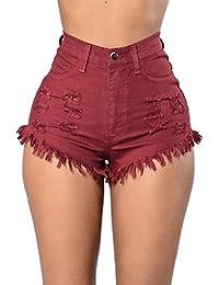 Pantalones cortos vaqueros de Cintura alta, Holacha Denim Jeans Lagrimeo Agujeros en el Estilo para Mujeres