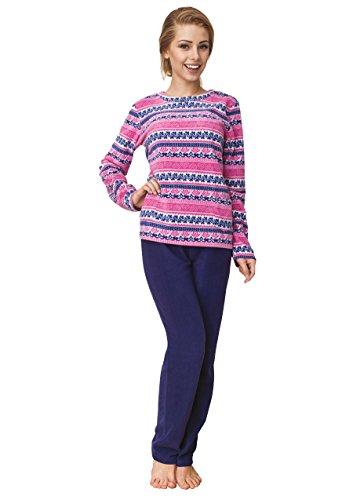 Key Premium Damen Pyjama, schickes 2-Teiliges Homewear Pyjama Set, Top Qualität, ideal als Geschenk, designed in EU Blau/Pink