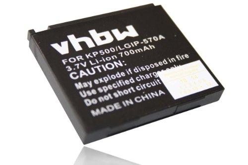 vhbw Li-Ion Akku 700mAh (3.7V) für Handy, Smartphone, Telefon LG KP500, KP500 Cookie, KP501, KP502 Cookie.
