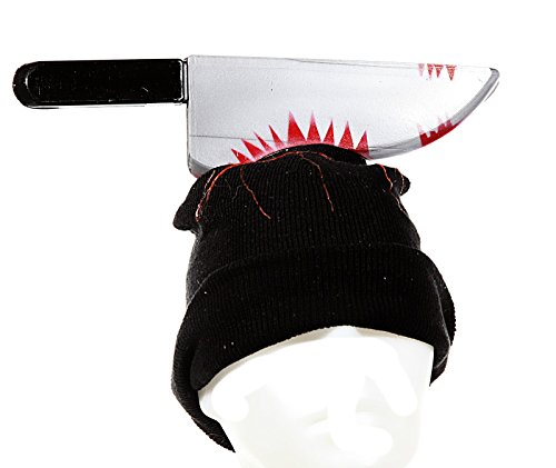 Preis am Stiel Halloween Mütze mit blutigem Messer -