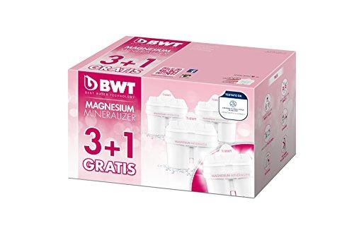 comprare on line Bwt Magnesium Mineralizer Filtro Con Tecnologia Brevettata Confezione 3+1, Plastica, Bianco, 20.9x12.3x12.4 cm prezzo