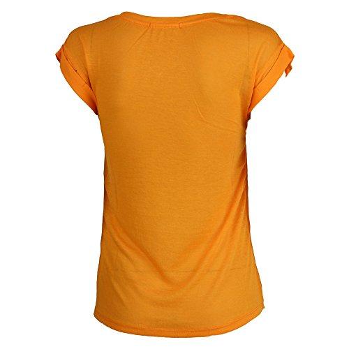 Top Donna Brave Soul Donna T-shirt Ragazze Have Divertente Stampa Arrotolato Maniche Ad Aletta Arancione