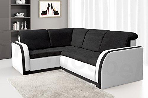 Ecksofa Sofa Eckcouch Couch mit Schlaffunktion und Bettkasten Ottomane L-Form Schlafsofa Bettsofa Polstergarnitur - VERO III (Ecksofa Links, Schwarz +...