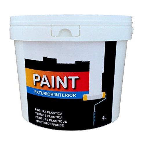 Pintura plástica blanca lavable para interior y exterior de 4 litros.