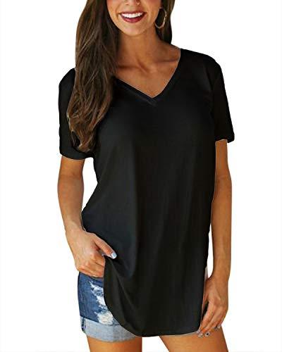 VONDA Damen T-Shirt Kurzarm Shirt V-Ausschnitt Sexy Tops Sommer Bluse Casual Oberteile Schwarz XL/EU46 (Die Oberteile Für Schule Süße)