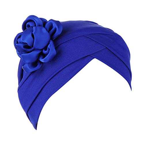 Auiyut Frauen Blumen Indien Hut moslemische Rüsche Krebs Chemo Sommer Turban Verpackungs Kappe (Blau, FREIEGRÖSSE)