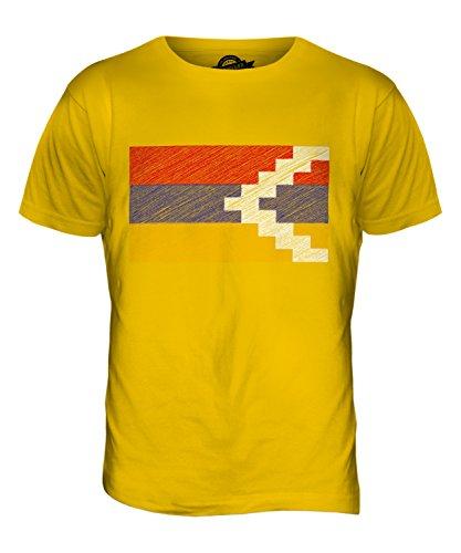 CandyMix Republik Bergkarabach Kritzelte Flagge Herren T Shirt Dunkelgelb
