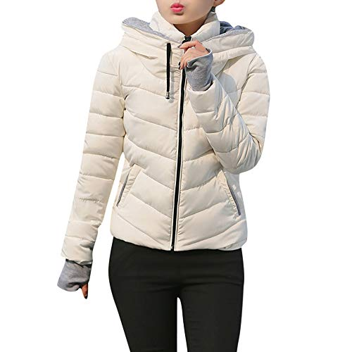 SEWORLD Winterjacke Damen Wintermantel Lange Daunenjacke Jacke Dicke Oberbekleidung Kapuzenmantel Kurze, schlanke, baumwollgefüllte Jacken Mäntel(Weiß,EU-34/CN-M) - Tweed Duffle