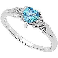 Anillo Oro Blanco 9ct con corazón de Topacio Azul y set Diamantes