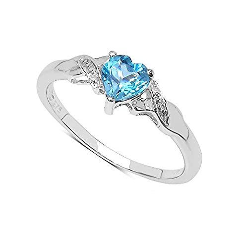 The Blue Topaz Ring Collection: 9ct White Gold Small Heart Shaped Swiss Blue Topaz & Diamond Engagement Ring (Size Q) Valentines Gift