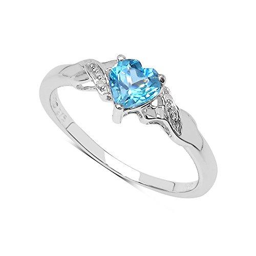 La Colección Anillo Topacio : Anillo Oro Blanco 9ct con corazón de Topacio Azul y set Diamantes en los hombros, Anillo de compromiso, Perfecto para Regalo, Talla del anillo 21,5