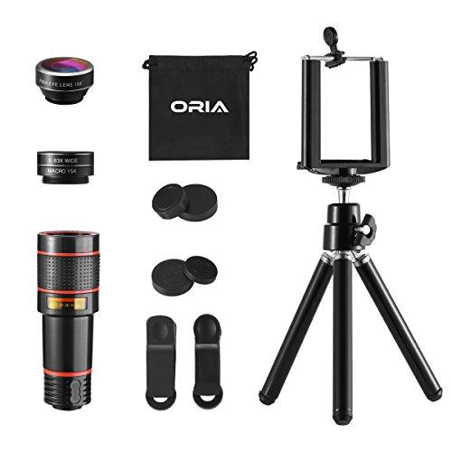【Neue Version】ORIA 3 In 1 Handy-Objektiv-Kit, 12X Teleobjektiv + 198° Fisheye Objektiv + 0.63X Weitwinkel & 15X Makroobjektiv mit Telefonhalter,Mini Stativ, für iPhone, Samsung, HTC, Huawei, etc -