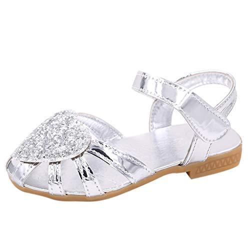 SuperSU Mädchen Sandalen►▷Sommer Beiläufige Packet-Toe Schuhe hohles Strass Herzform Design Weich Bequeme Sandalen Hausschuhe Mädchen Einzelne Schuhe Prinzessin Schuhe Tanzschuhe