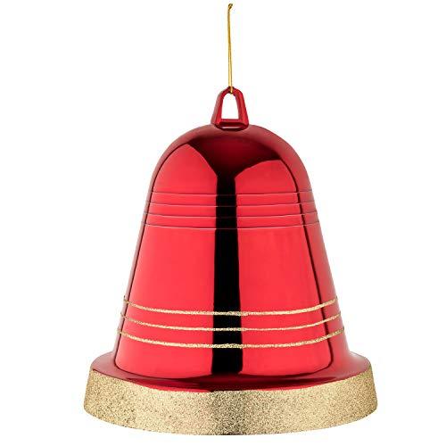 Your castle große Glocke Weihnachtsschmuck Weihnachtsdeko rot glänzend 25 cm Durchmesser. Hochwertige Glocke für Innen und wetterfest für Aussen. Mit Aufhängung und Goldband
