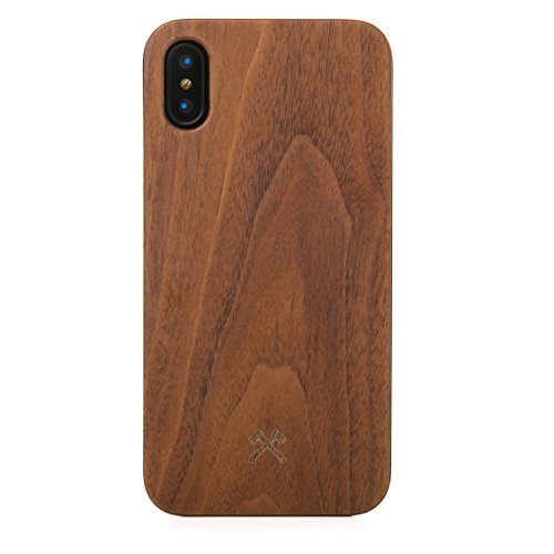 Woodcessories - EcoCase Classic - iPhone X, Xs Case, Cover, Hülle aus FSC zert. Holz Premium Design (Walnuss/ schwarz)