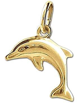 CLEVER SCHMUCK Goldener kleiner Anhänger 12 mm springender Mini Delfin beidseitig plastisch und glänzend 333 GOLD...