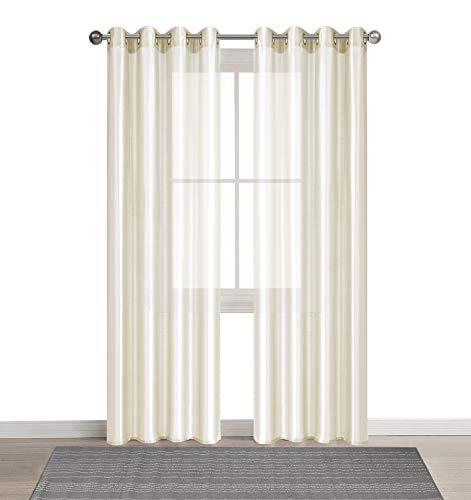 DEZENE 2er Set Faux Seide Halb-transparent Gardine mit Ösen Einfarbige Voile Tüll Durchsichtig Vorhänge Schals,Creme,140 x 260 CM