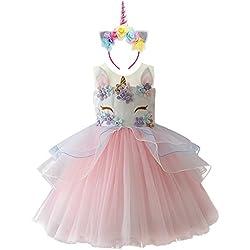 IWEMEK Niña Princesa Vestido Unicornio Disfraz de Cosplay para Fiesta Carnaval Bautizo Cumpleaños Comunión Boda Rosa 10-11 Años