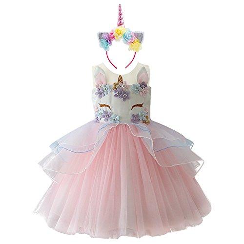 IWEMEK Niña Princesa Vestido Unicornio Disfraz de Cosplay para Fiesta Carnaval Bautizo Cumpleaños Comunión Boda Rosa 8-9 Años