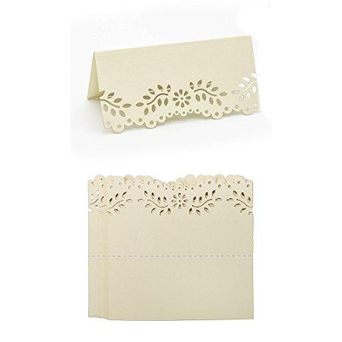 YU FENG Schimmer-Platzkarten des Weißgold-60cs Laser geschnittene Hohle Tabelle mit Blumen-DIY Kardiert Weinlese-Perlglanz-Einladungs-Namenskarten