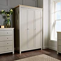 Home Source Wardrobe Grey Oak 3 Door Two Tone Wooden Hanging Rail Storage Shelves Dorset