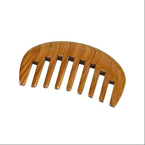 CHUANGHDF Kamm ® Taschenkamm Natürlicher grüner Sandelholzkamm Kopfmassagekamm Lockiges Haarkamm Ganzer Zahn breite Zähne kämmen