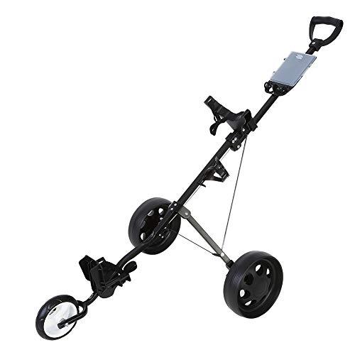 GOTOTOP Push Golf Carts und Trolleys, strapazierfähig, faltbar, 3 Räder, Golftrolley, Getränkehalter, 3 Räder, drehbar mit Fußbremse System Zubehör