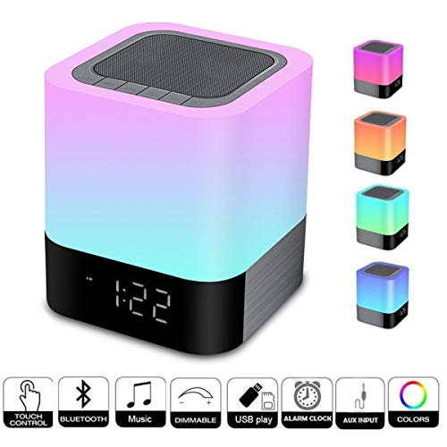 Biseoamz Wireless Bluetooth Speaker with Touch Control Bedside Lamp,Alarm Clock,MP3,Portable Smart LED Touch Sensor Table Lamp Dimmable RGB Multi-Color Changing Night Light, All in 1