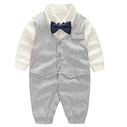 FAIRYRAIN Kleinkind Jungen Gentleman Smoking Langarm Strampler Taufe Hochzeit Babybekleidung (2t Kleinkind-smoking)