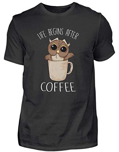 EBENBLATT Life Begins After Coffee Eule Kaffee Geschenk - Herren Premiumshirt -3XL-Schwarz (Koffein Süchtig Kostüm)
