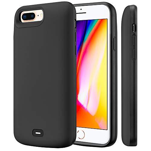 Fey-EU Akku Hülle für iPhone 6 Plus/6S Plus/7 Plus/8 Plus [5,5 Zoll] 8000mAh Tragbare Ladebatterie Zusatzakku Externe Handyhülle Batterie Wiederaufladbare Schutzhülle Power Bank Akku Case, Schwarz (Case Battery Plus Sechs)